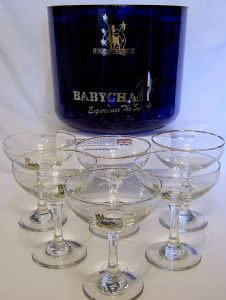 Babycham Blue Ice Bucket & 6 Assorted babycham Glasses - SOLD